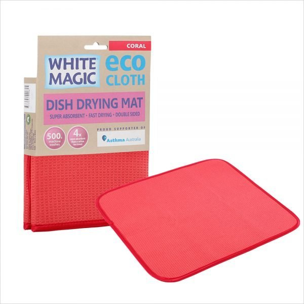 White Magic Dish Drying Mat Coral