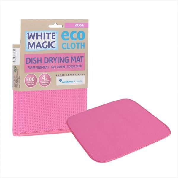 White Magic Dish Drying Mat Rose