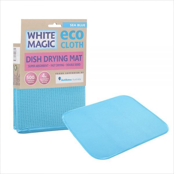 White Magic Dish Drying Mat Sea Blue