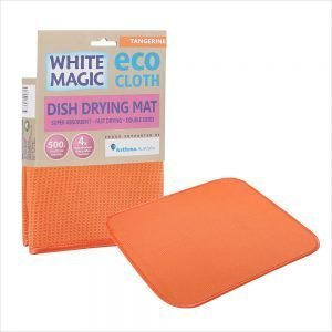 White Magic Dish Drying Mat Tangerine