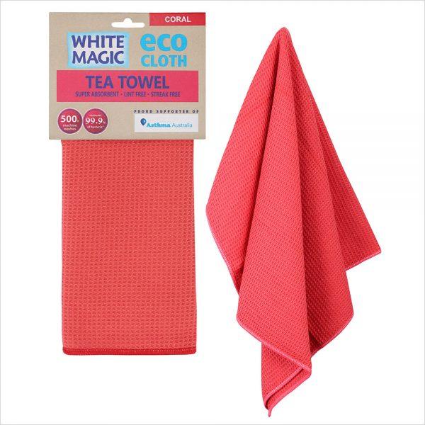 White Magic Tea Towel Coral