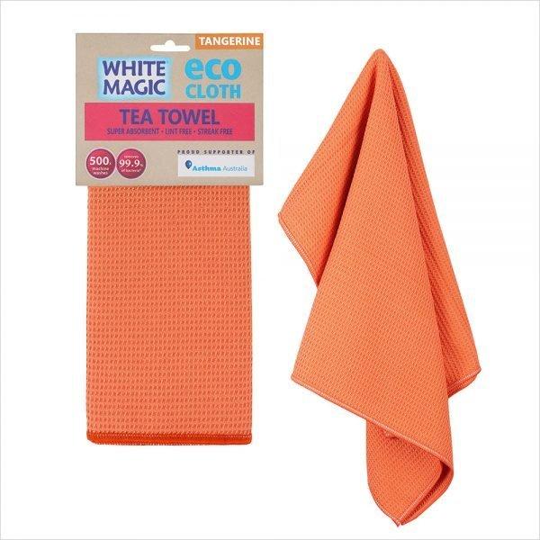 White Magic Tea Towel Tangerine