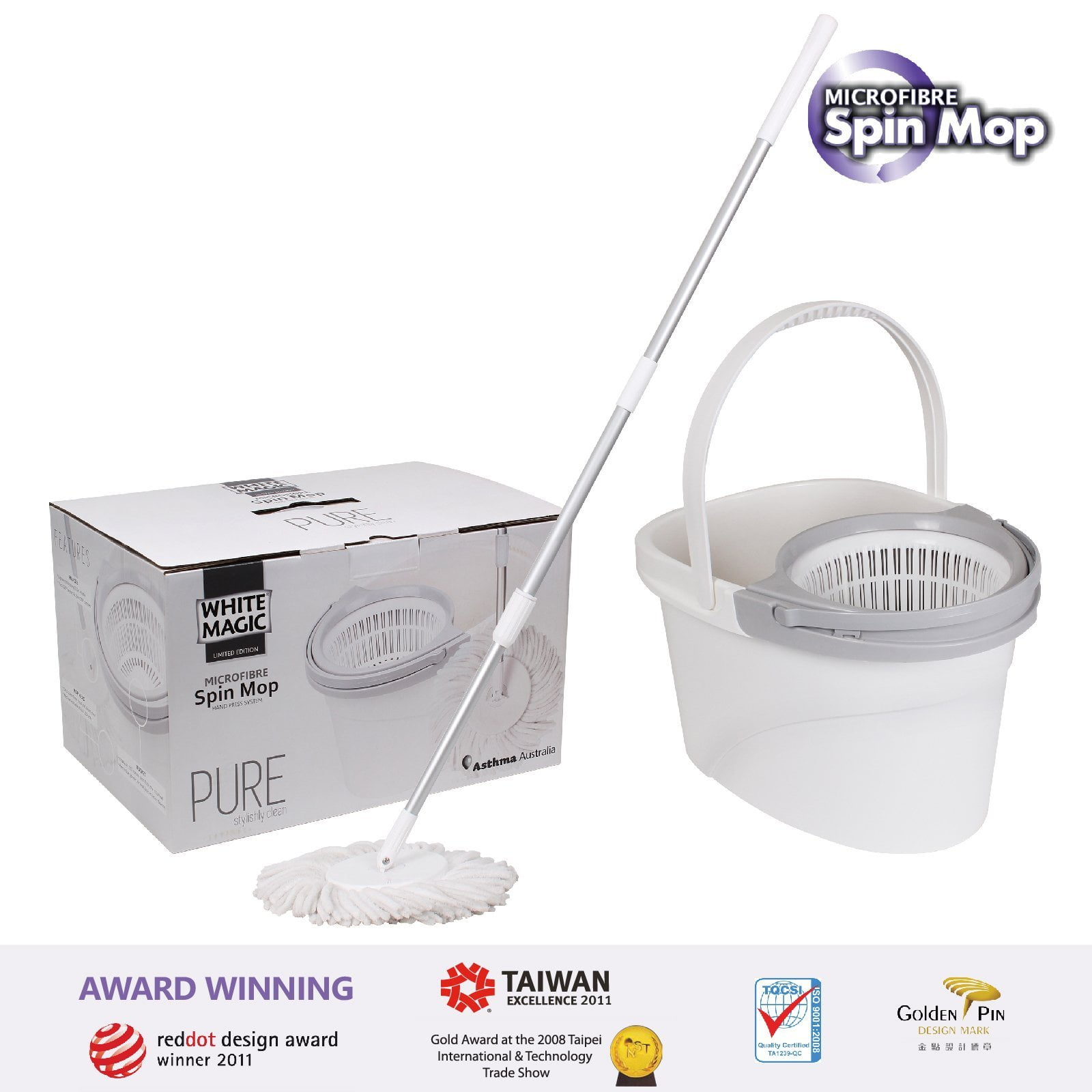 White Magic Pure Spin Mop - bucket x1 + handle x1 + extra power mop head x1