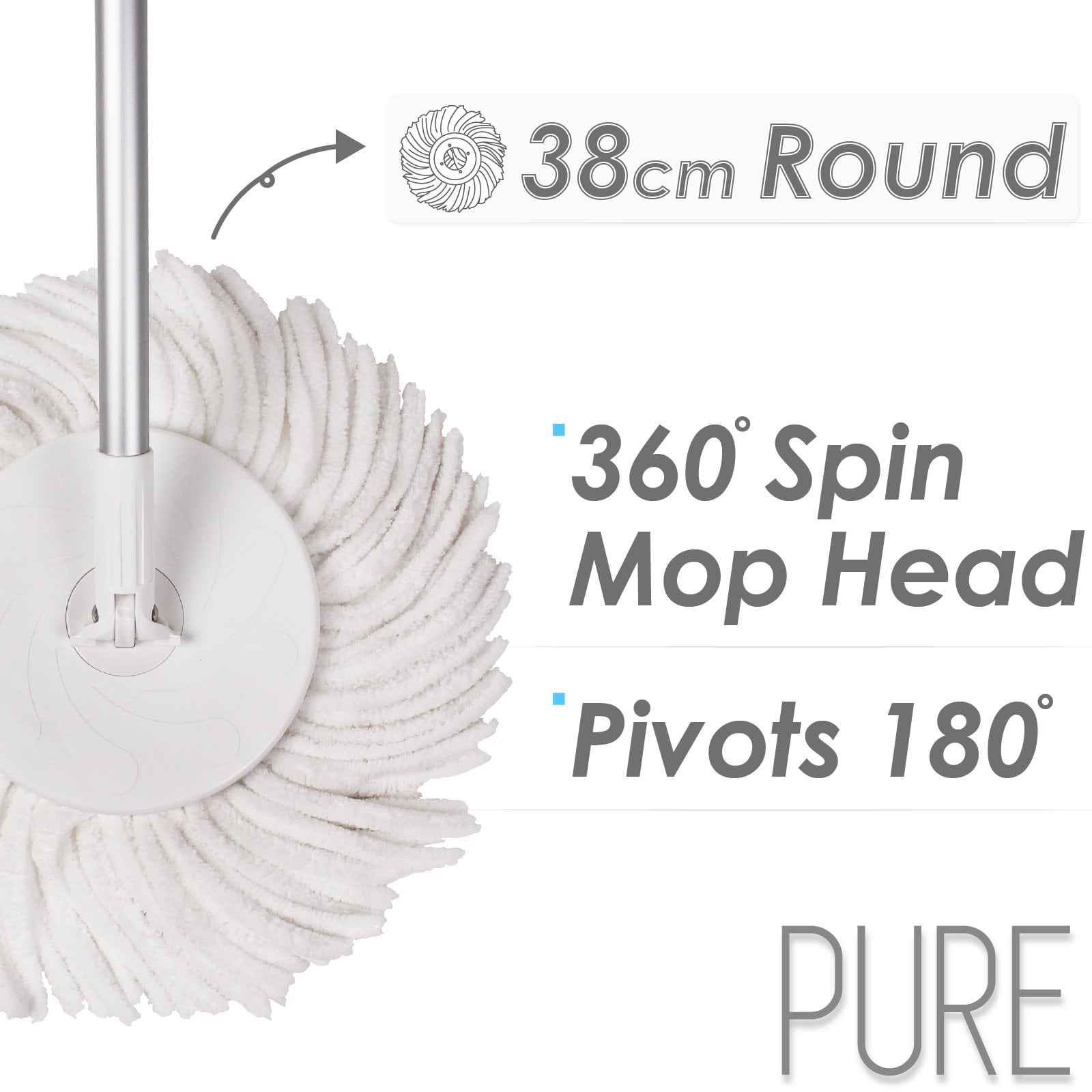 38cm Round Mop Head, 360 Degrees Spin Mop Head and Pivots 180 Degrees