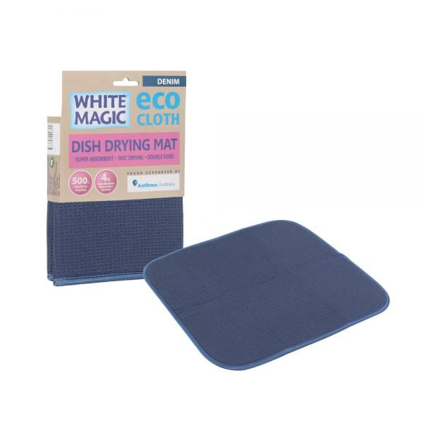 White Magic Dish Drying Mat Denim