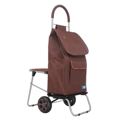 Handy Trolley with Seat Brown